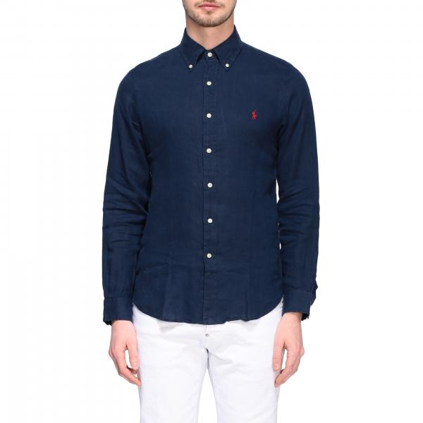 Camicia Polo Ralph Lauren in lino con collo button down