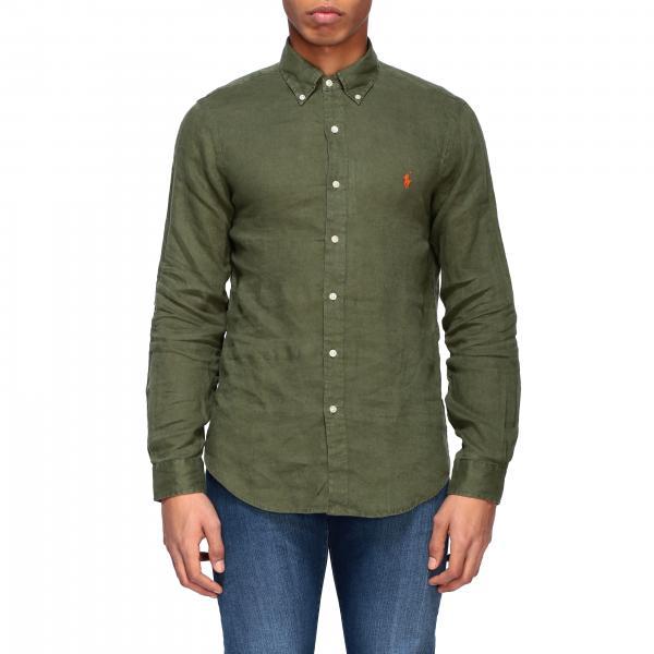 Camicia Polo Ralph Lauren in lino con collo button down