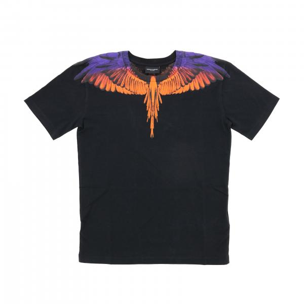 Short-sleeved Marcelo Burlon t-shirt with multicolor feather print