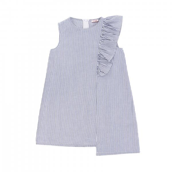 Il Gufo micro-striped dress with asymmetrical cut and ruffles