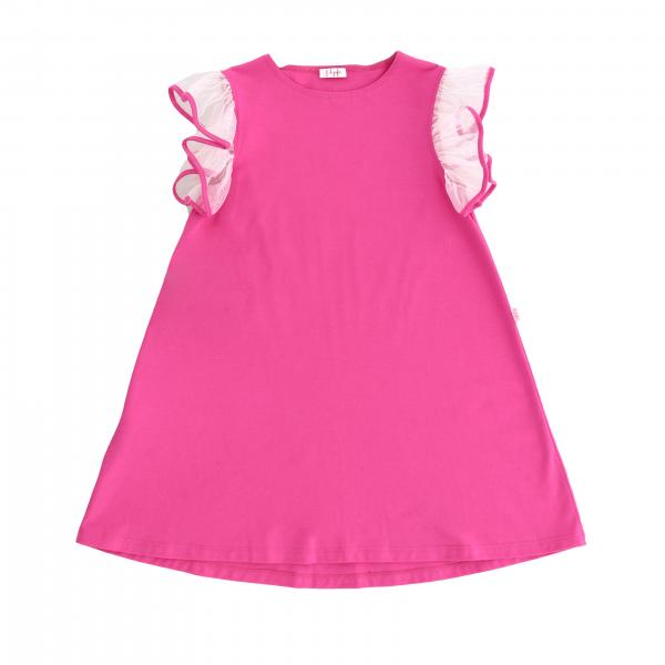Il Gufo jersey dress with tulle rouches sleeves
