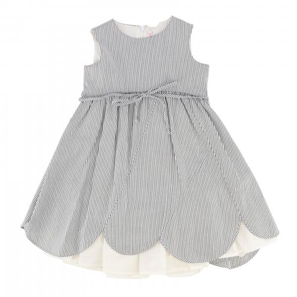 Il Gufo dress in micro-striped cotton