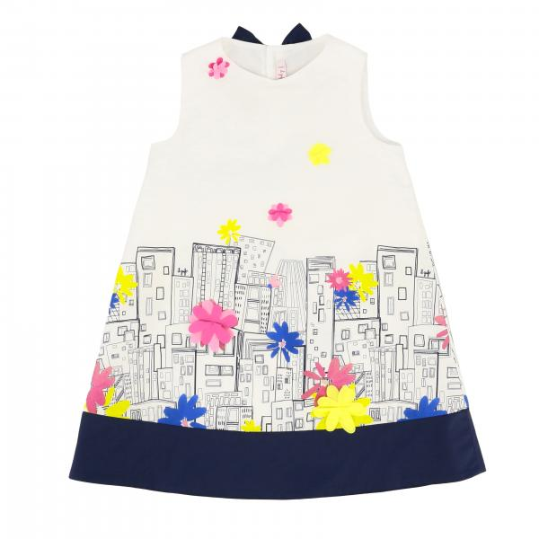 Il Gufo cotton dress with houses print