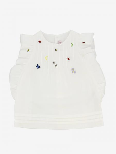 Il Gufo top with ruffles and micro embroidery