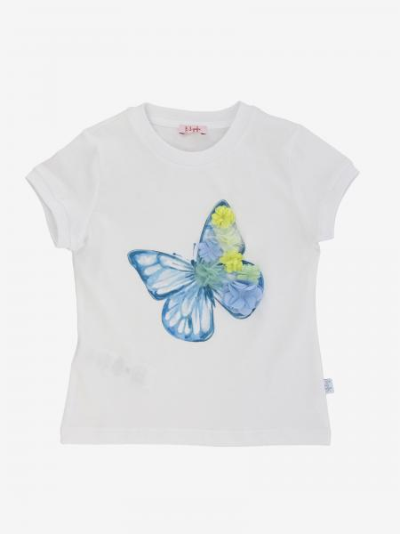 T-shirt Il Gufo avec imprimé papillon et applications florales