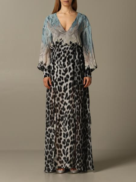 Robe longue Just Cavalli en mousseline imprimée