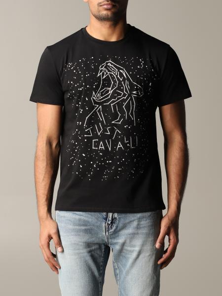 T-shirt Just Cavalli con tigre e logo di strass