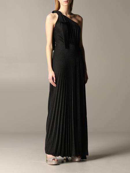 Elisabetta Franchi One-Shoulder-Kleid aus Lurex mit Logo