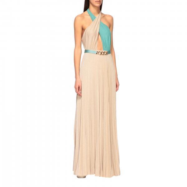 Elisabetta Franchi 腰带装饰金银丝面料长款连衣裙