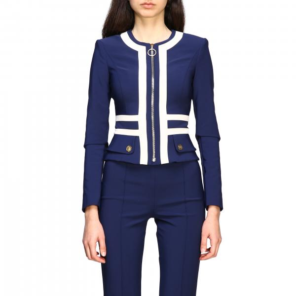 Elisabetta Franchi technical fabric jacket zip neckless with contrasts