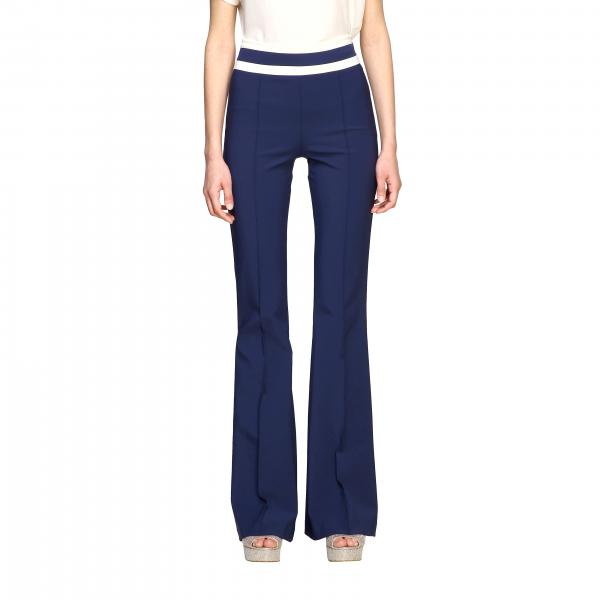 Elisabetta Franchi flair trousers in technical fabric with contrasts