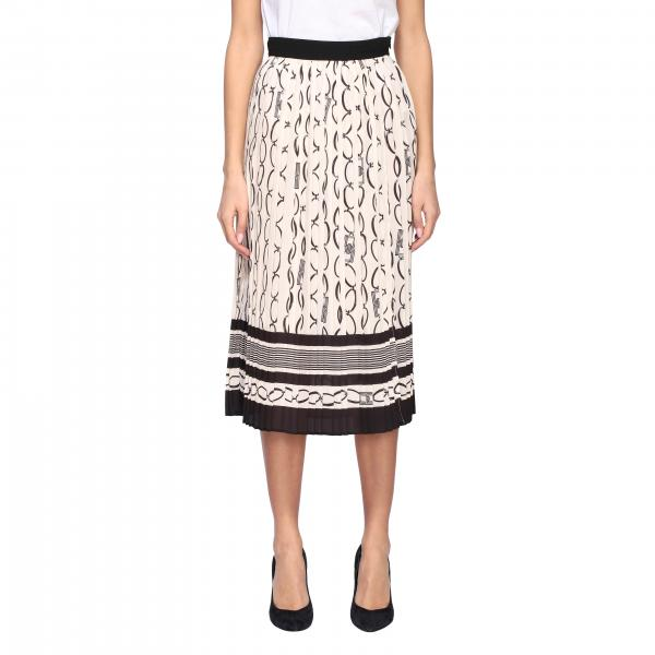 Elisabetta Franchi pleated skirt with chain print