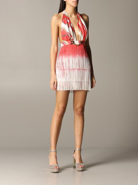 Dress elisabetta franchi dress with chain and fringe print Elisabetta Franchi - Giglio.com