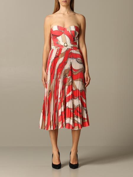 Dress elisabetta franchi dress with chain print and pleated skirt Elisabetta Franchi - Giglio.com