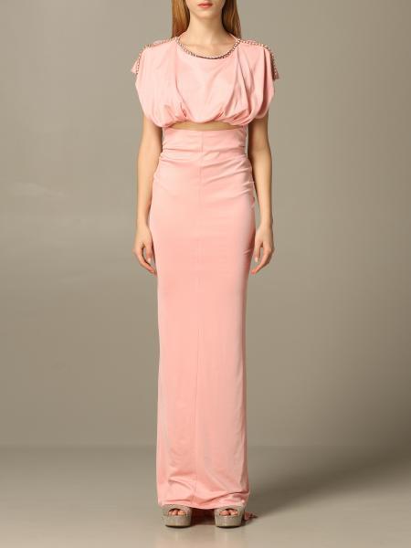 Elisabetta Franchi 水钻装饰长款连衣裙