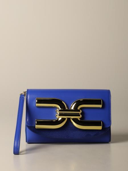 Elisabetta Franchi leather clutch with logo