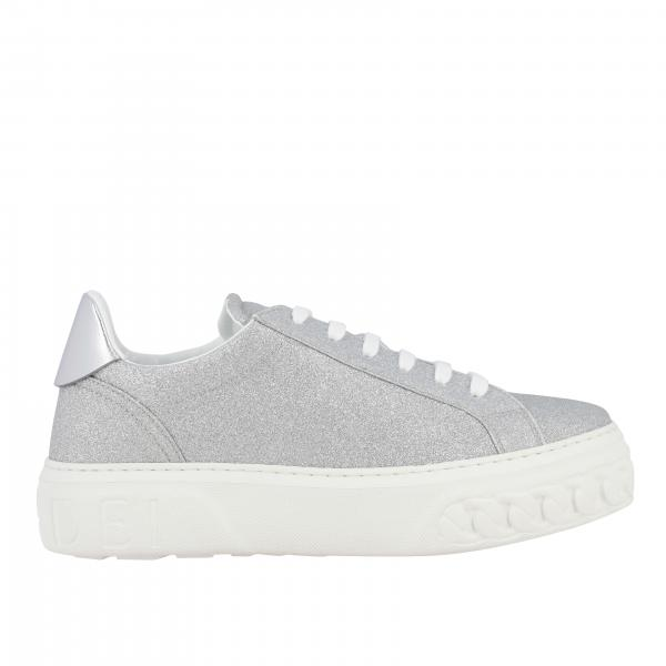 Glitter Casadei sneakers with rubber sole and chain