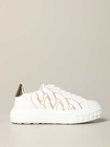Casadei leather sneakers with studs and chain sole