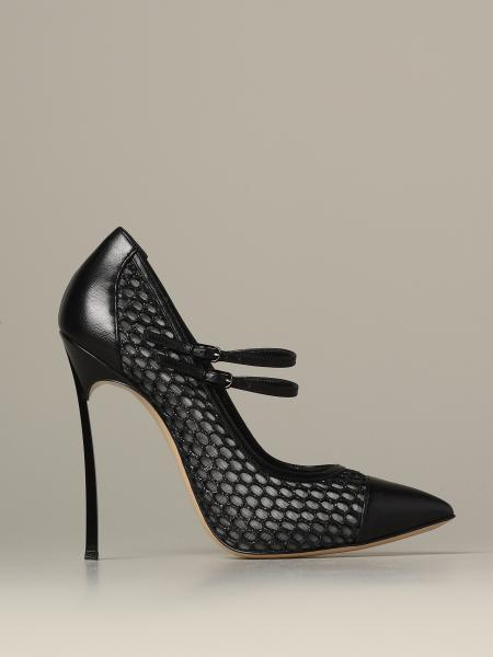 Casadei décolleté in leather and mesh with blade heel