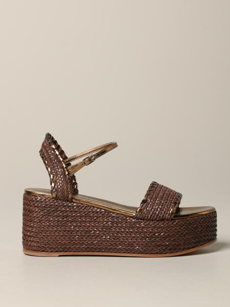 Sandales compensées Casadei en raphia tressé