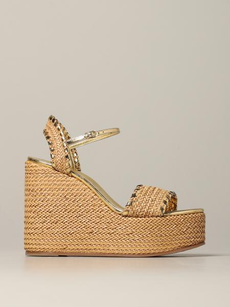 Casadei 拉菲草编织坡跟凉鞋