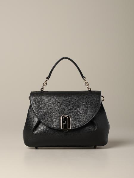 Furla sleek top handle bag in textured leather