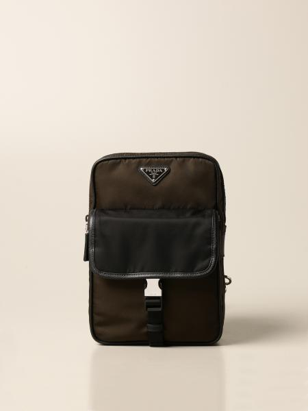 One-shoulder backpack in bicolor nylon with triangular logo