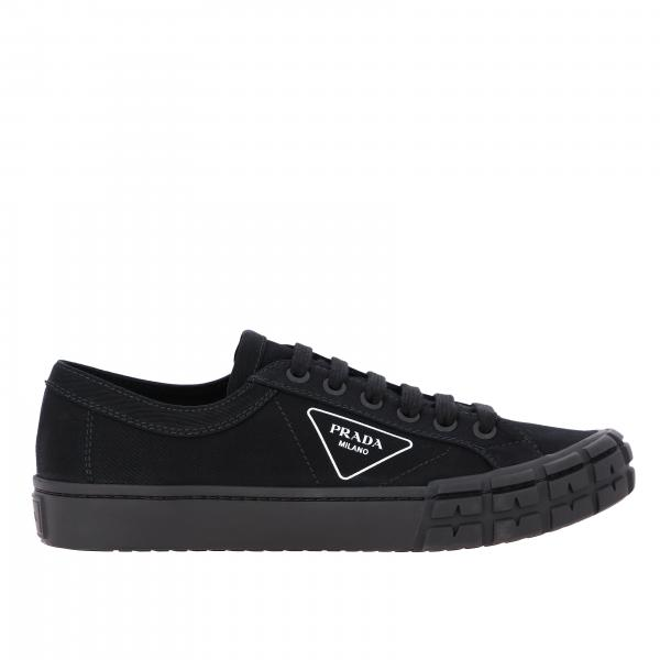 Prada canvas and rubber sneakers with logo