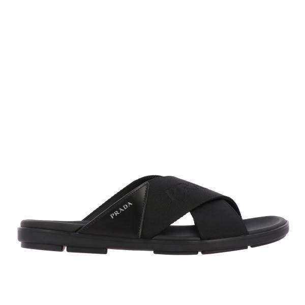 Sandale pantoufle Prada avec logo