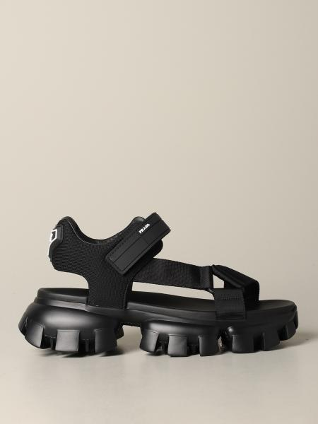 Prada thunder sandal in canvas and rubber with logo