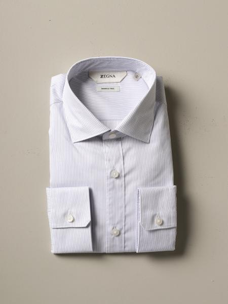 Z Zegna natural stretch shirt with micro stripes