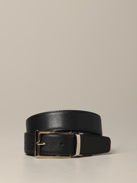 Cintura Ermenegildo Zegna in pelle saffiano reversibile