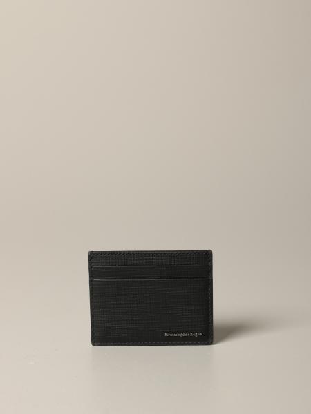 Porte-cartes de crédit en cuir Ermenegildo Zegna