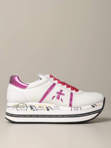 Premiata Beth 光滑和金属感真皮运动鞋