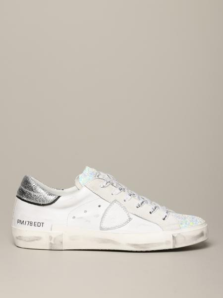 Sneakers Paris Philippe Model in glitter e pelle