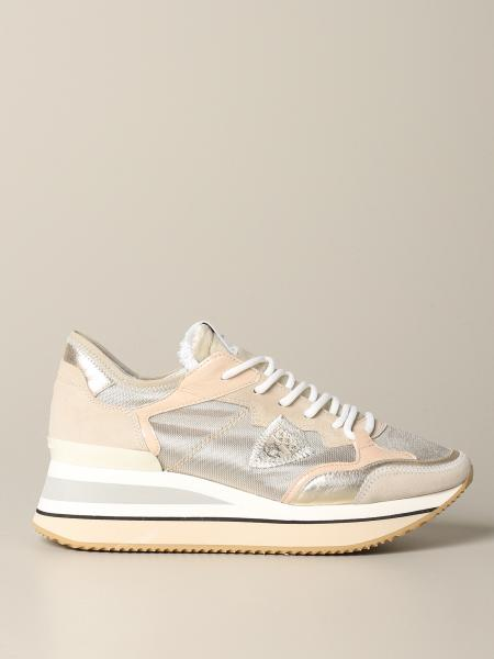 Sneakers Triomphe Philippe Model in camoscio e tela lurex