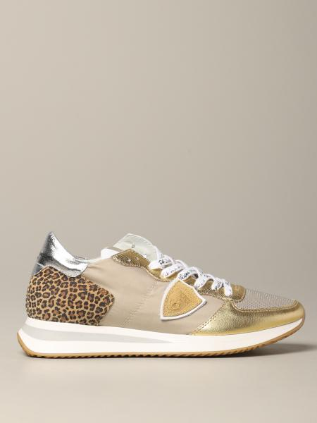 Sneakers Tropez Philippe Model in pelle laminata e tessuto animalier