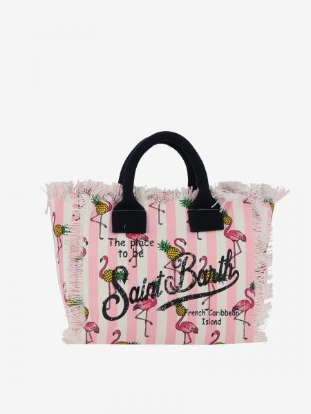 Borsa Colette shopping MC2 Saint Barth in canvas con stampa fenicotteri