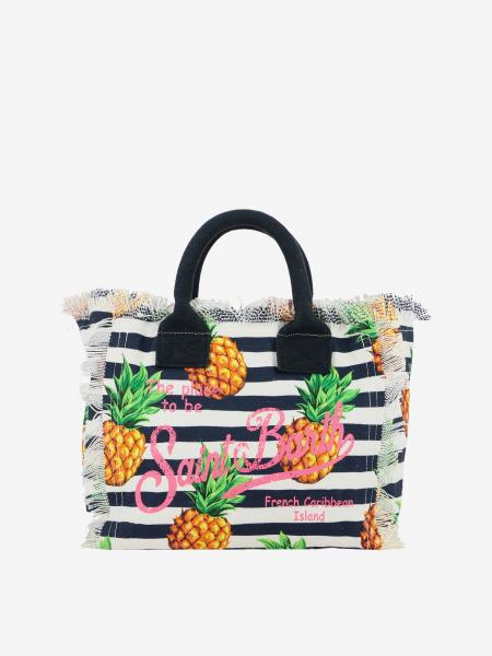 Borsa Colette shopping MC2 Saint Barth in canvas con stampa ananas