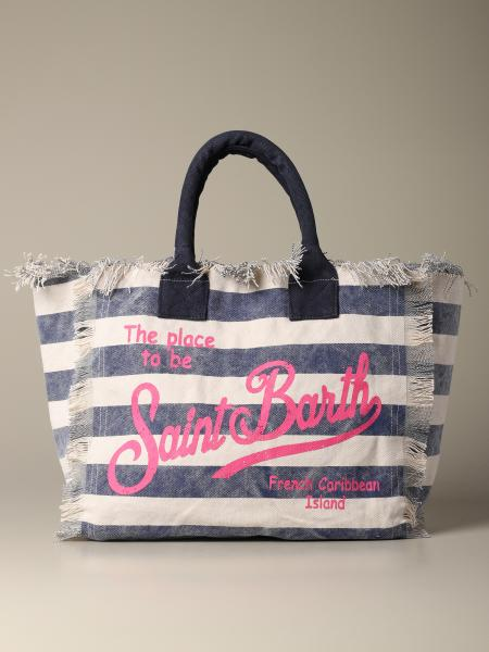 Borsa Vanity shopping MC2 Saint Barth in canvas a righe