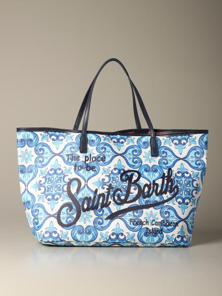 Borsa Marais shopping MC2 Saint Barth con stampa maiolica