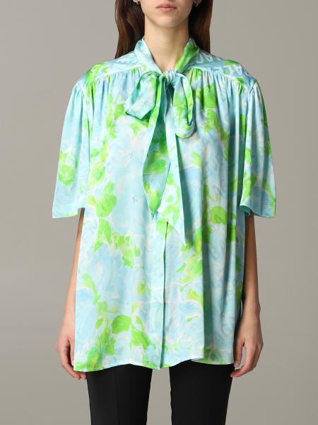 Balenciaga printed shirt with foulard collar