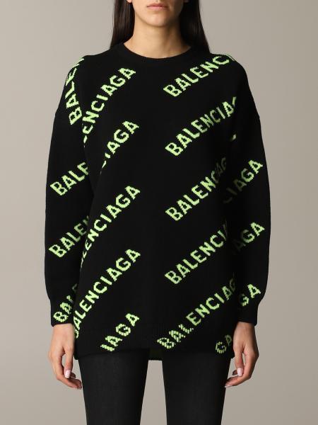 Pullover Balenciaga in lana con logo all over