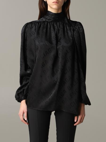 Balenciaga silk blouse with all over logo and foulard collar