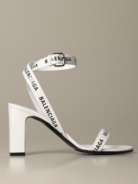 Round Balenciaga sandal in leather with logo