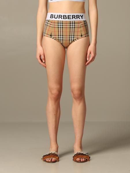 Checkered Burberry Tessa swimsuit with logo band