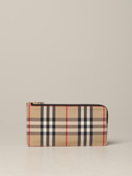 Raley Burberry Brieftasche aus kariertem Canvas und Leder