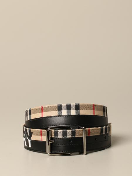 Cintura Burberry in pelle e tela check con logo
