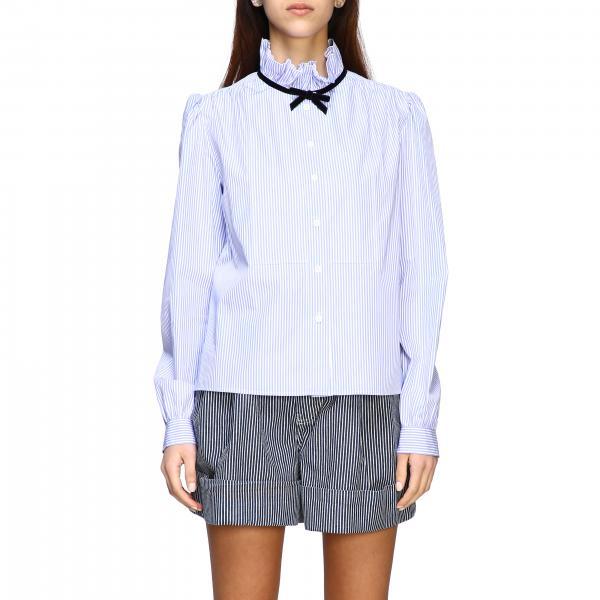 Camicia Miu Miu bacchettata con collo di rouches e fiocco
