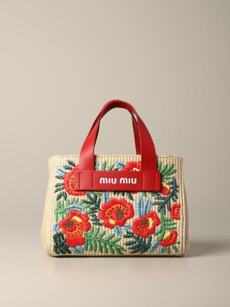 Miu Miu handbag in raffia with floral embroidery